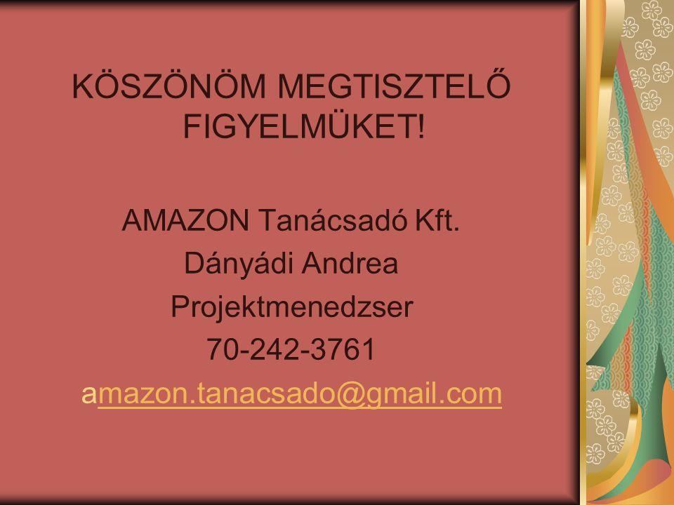 KÖSZÖNÖM MEGTISZTELŐ FIGYELMÜKET! AMAZON Tanácsadó Kft. Dányádi Andrea Projektmenedzser 70-242-3761 amazon.tanacsado@gmail.commazon.tanacsado@gmail.co
