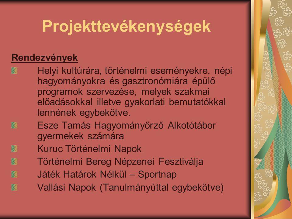 Projekttevékenységek Rendezvények Helyi kultúrára, történelmi eseményekre, népi hagyományokra és gasztronómiára épülő programok szervezése, melyek sza