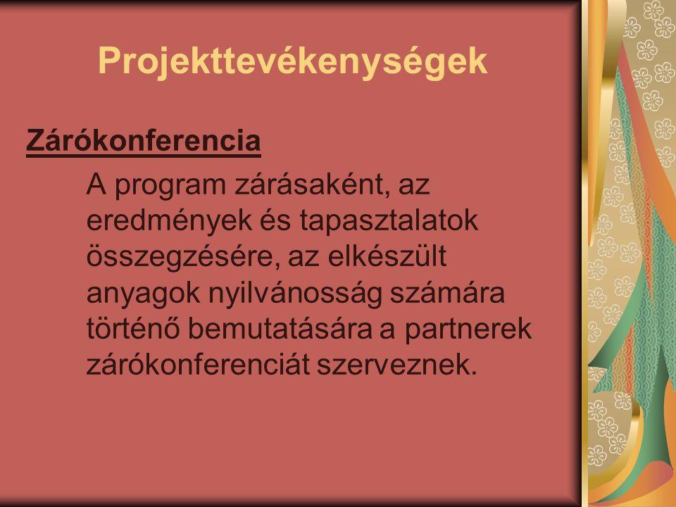Projekttevékenységek Zárókonferencia A program zárásaként, az eredmények és tapasztalatok összegzésére, az elkészült anyagok nyilvánosság számára tört