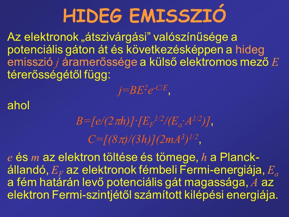 """HIDEG EMISSZIÓ Az elektronok """"átszivárgási"""" valószínűsége a potenciális gáton át és következésképpen a hideg emisszió j áramerőssége a külső elektromo"""