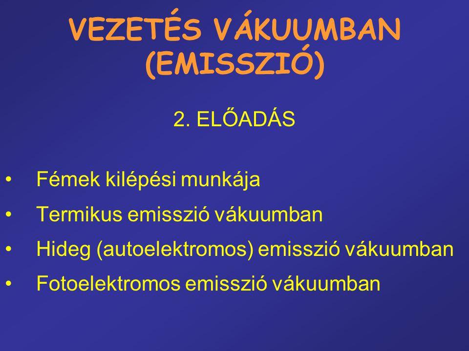 VEZETÉS VÁKUUMBAN (EMISSZIÓ) 2. ELŐADÁS •Fémek kilépési munkája •Termikus emisszió vákuumban •Hideg (autoelektromos) emisszió vákuumban •Fotoelektromo