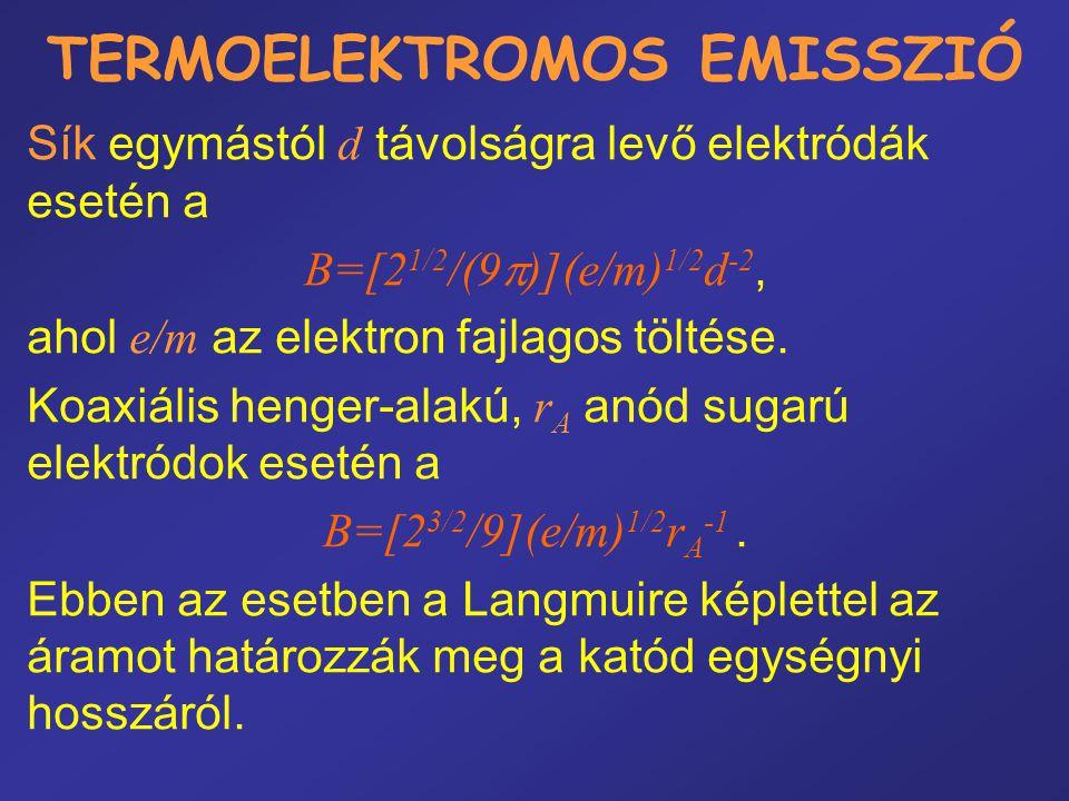 TERMOELEKTROMOS EMISSZIÓ Sík egymástól d távolságra levő elektródák esetén a B=[2 1/2 /(9  )](e/m) 1/2 d -2, ahol e/m az elektron fajlagos töltése. K