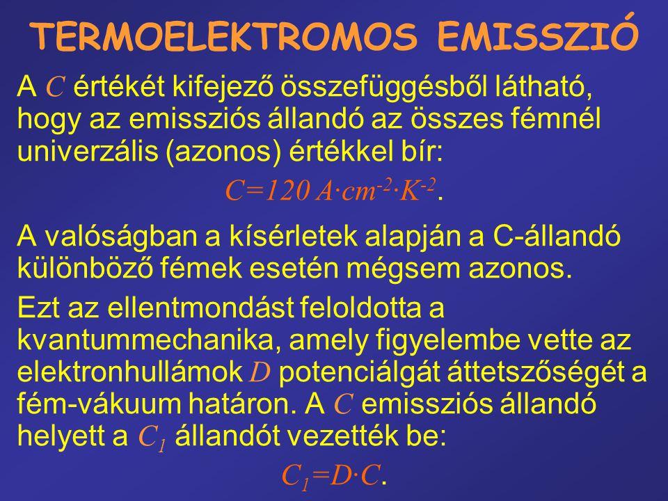 TERMOELEKTROMOS EMISSZIÓ A C értékét kifejező összefüggésből látható, hogy az emissziós állandó az összes fémnél univerzális (azonos) értékkel bír: C=