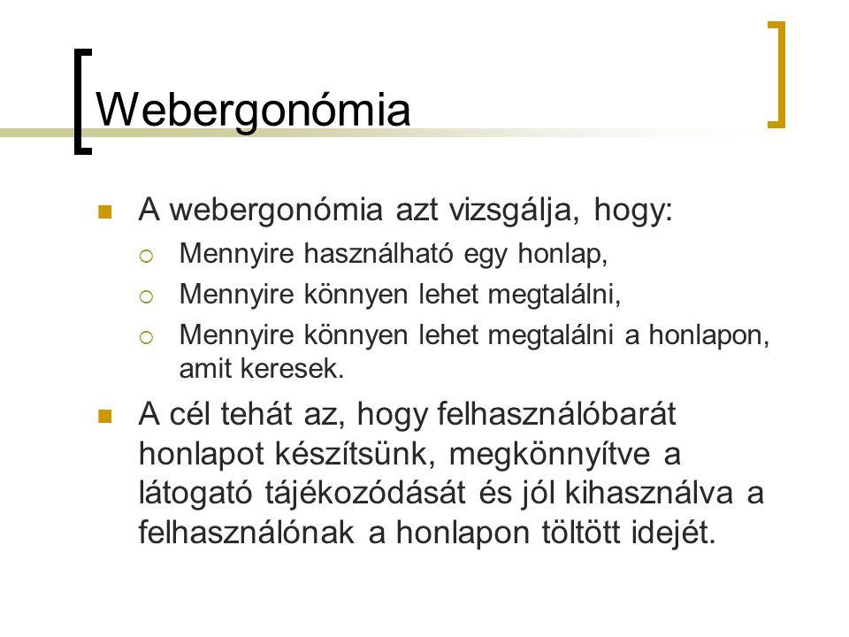 Webergonómia  A webergonómia azt vizsgálja, hogy:  Mennyire használható egy honlap,  Mennyire könnyen lehet megtalálni,  Mennyire könnyen lehet megtalálni a honlapon, amit keresek.