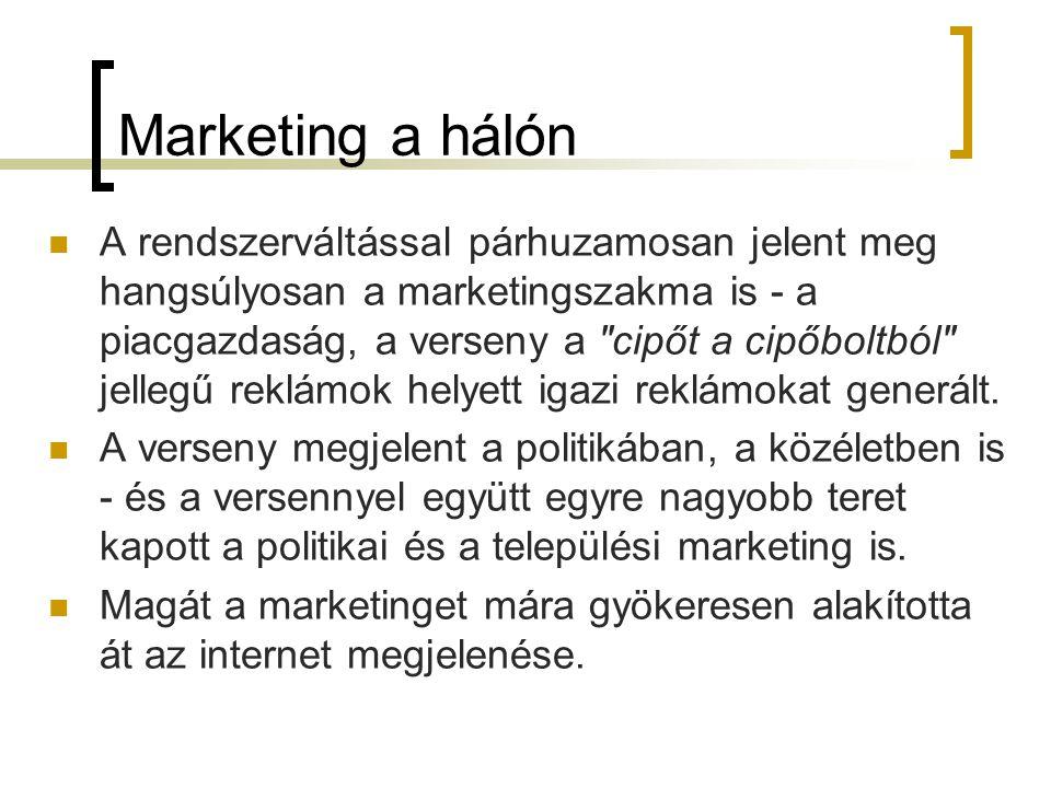 Marketing a hálón  A rendszerváltással párhuzamosan jelent meg hangsúlyosan a marketingszakma is - a piacgazdaság, a verseny a cipőt a cipőboltból jellegű reklámok helyett igazi reklámokat generált.