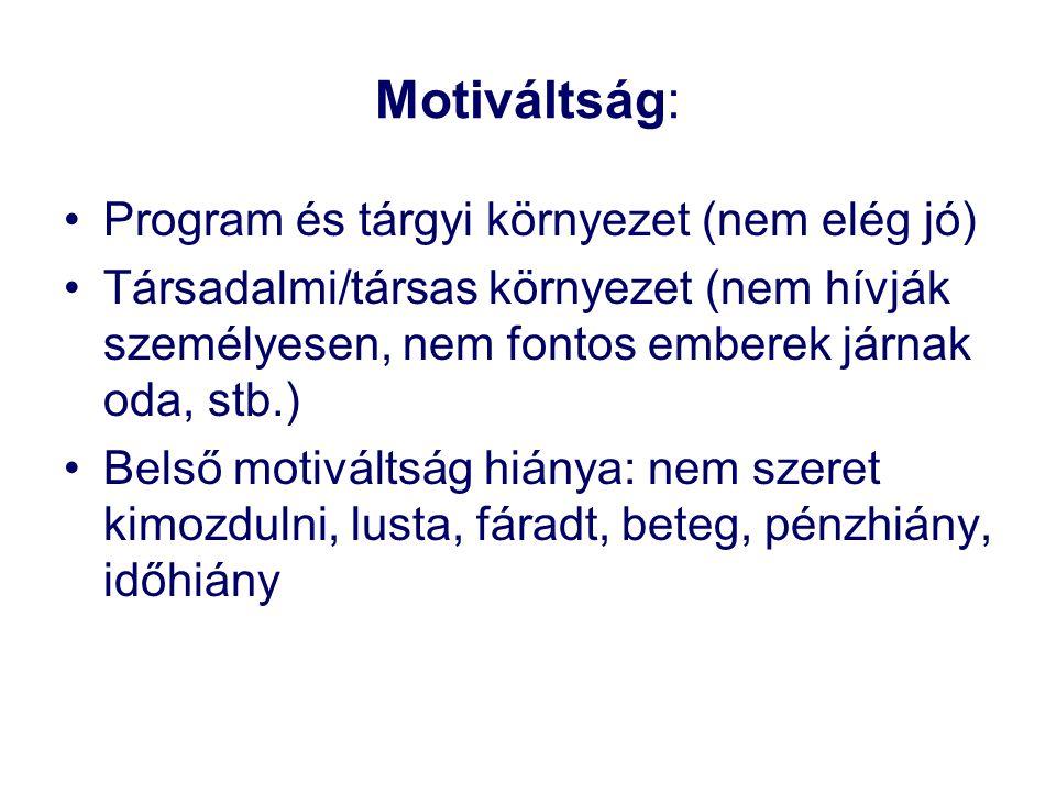 Motiváltság: •Program és tárgyi környezet (nem elég jó) •Társadalmi/társas környezet (nem hívják személyesen, nem fontos emberek járnak oda, stb.) •Be