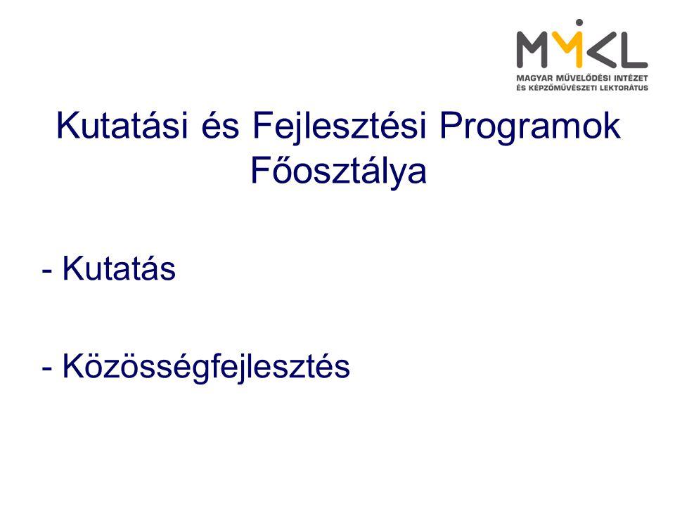 Kutatási és Fejlesztési Programok Főosztálya - Kutatás - Közösségfejlesztés
