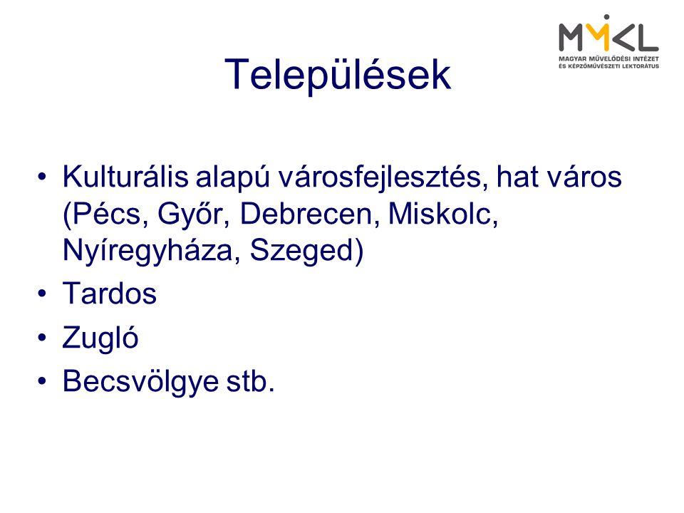 Települések •Kulturális alapú városfejlesztés, hat város (Pécs, Győr, Debrecen, Miskolc, Nyíregyháza, Szeged) •Tardos •Zugló •Becsvölgye stb.