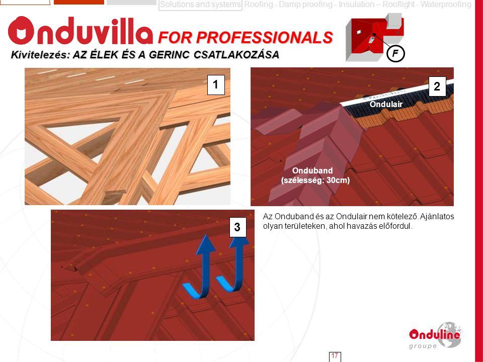 Solutions and systemsRoofing - Damp proofing - Insulation – Rooflight - Waterproofing 17 Kivitelezés: AZ ÉLEK ÉS A GERINC CSATLAKOZÁSA 1 2 3 Onduband