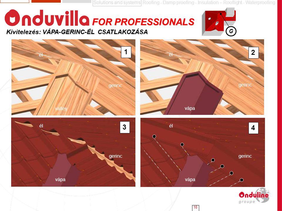 Solutions and systemsRoofing - Damp proofing - Insulation – Rooflight - Waterproofing 18 G Kivitelezés: VÁPA-GERINC-ÉL CSATLAKOZÁSA FOR PROFESSIONALS