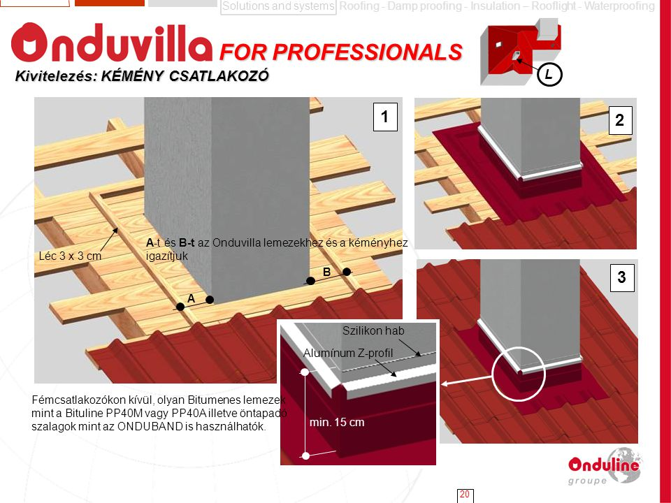 Solutions and systemsRoofing - Damp proofing - Insulation – Rooflight - Waterproofing 20 Kivitelezés: KÉMÉNY CSATLAKOZÓ FOR PROFESSIONALS FOR PROFESSI