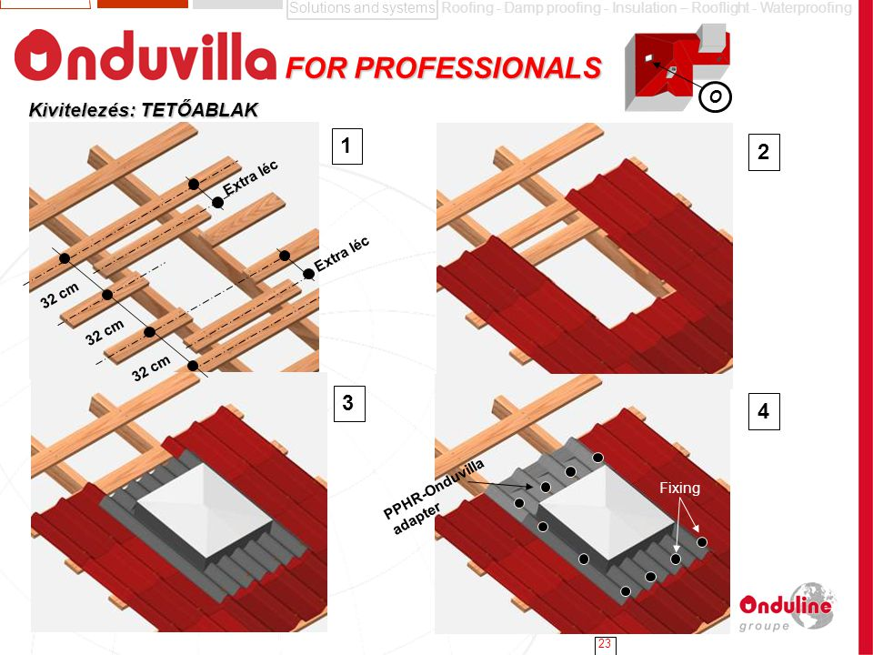 Solutions and systemsRoofing - Damp proofing - Insulation – Rooflight - Waterproofing 23 FOR PROFESSIONALS FOR PROFESSIONALS Kivitelezés: TETŐABLAK 1 2 3 4 PPHR-Onduvilla adapter 32 cm Fixing Extra léc O