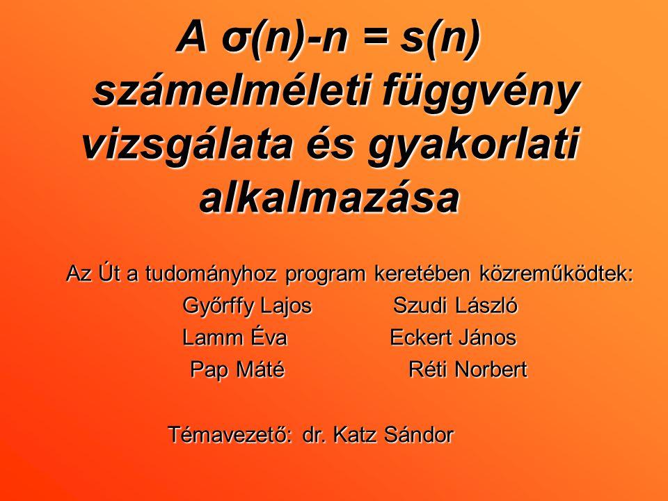 A σ(n)-n = s(n) számelméleti függvény vizsgálata és gyakorlati alkalmazása Az Út a tudományhoz program keretében közreműködtek: Győrffy Lajos Szudi Lá