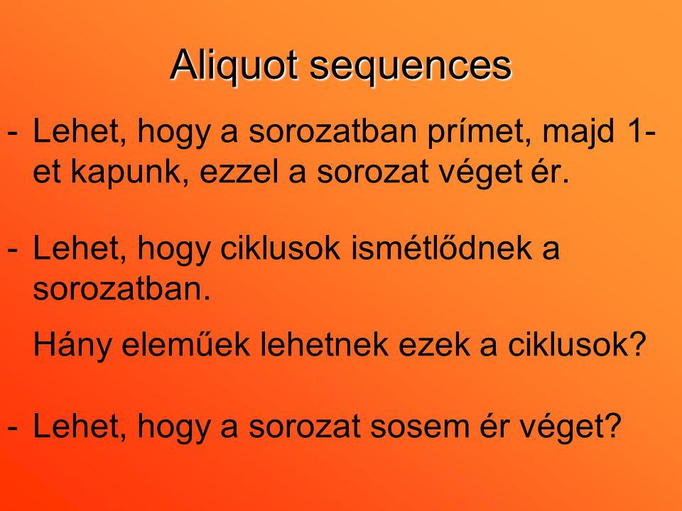 Aliquot sequences -Lehet, hogy a sorozatban prímet, majd 1- et kapunk, ezzel a sorozat véget ér. -Lehet, hogy ciklusok ismétlődnek a sorozatban. Hány