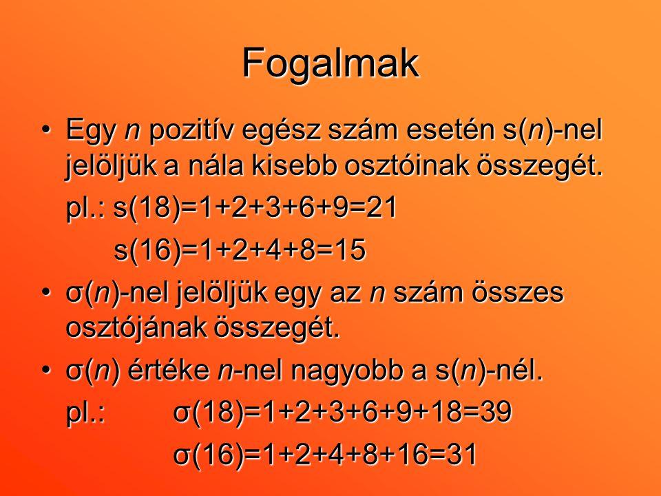 Fogalmak •Egy n pozitív egész szám esetén s(n)-nel jelöljük a nála kisebb osztóinak összegét. pl.: s(18)=1+2+3+6+9=21 s(16)=1+2+4+8=15 s(16)=1+2+4+8=1