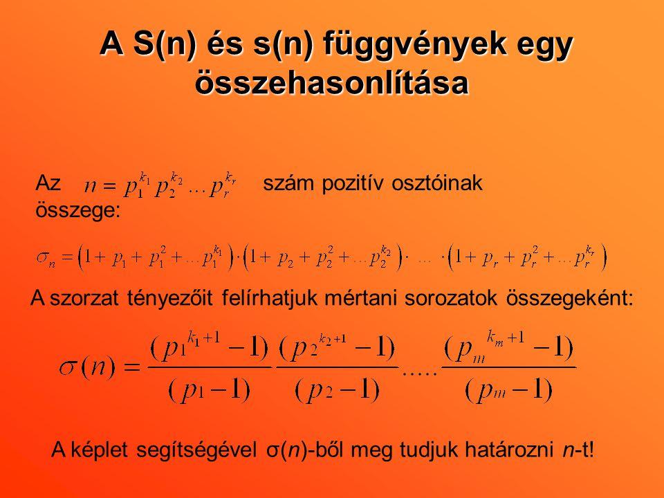 A S(n) és s(n) függvények egy összehasonlítása Az szám pozitív osztóinak összege: A szorzat tényezőit felírhatjuk mértani sorozatok összegeként: A kép
