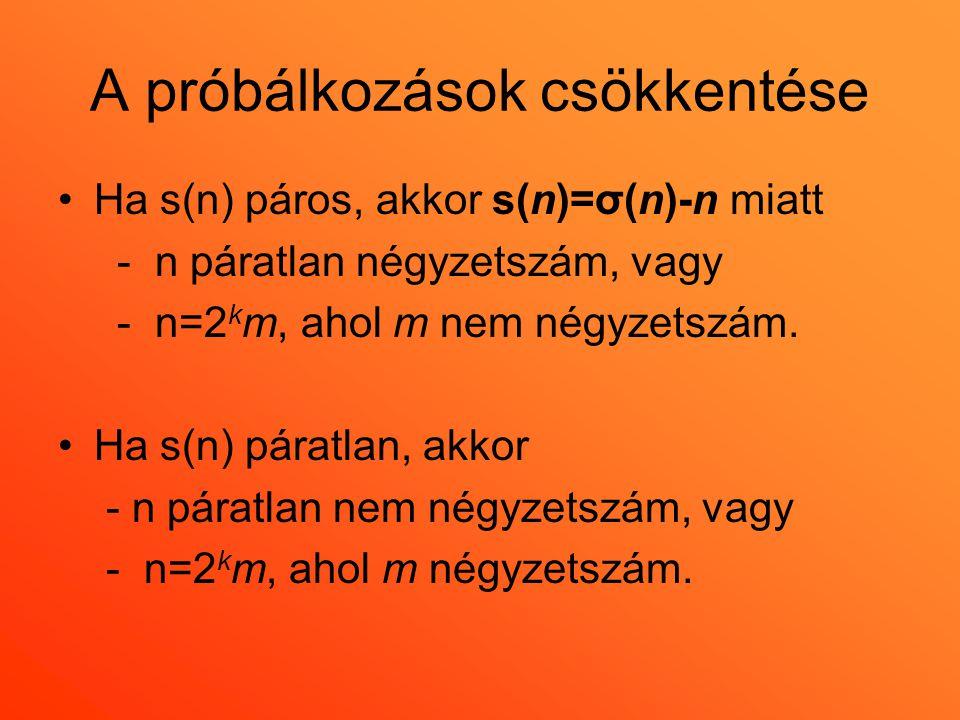 A próbálkozások csökkentése •Ha s(n) páros, akkor s(n)=σ(n)-n miatt - n páratlan négyzetszám, vagy - n=2 k m, ahol m nem négyzetszám. •Ha s(n) páratla