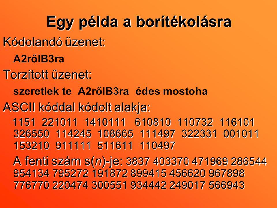 Egy példa a borítékolásra Kódolandó üzenet: A2rőlB3ra Torzított üzenet: szeretlek te A2rőlB3ra édes mostoha ASCII kóddal kódolt alakja: 1151 221011 14