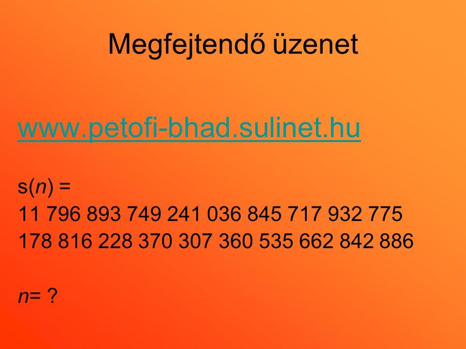 Megfejtendő üzenet www.petofi-bhad.sulinet.hu s(n) = 11 796 893 749 241 036 845 717 932 775 178 816 228 370 307 360 535 662 842 886 n= ?