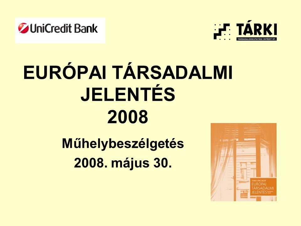 EURÓPAI TÁRSADALMI JELENTÉS 2008 Műhelybeszélgetés 2008. május 30.