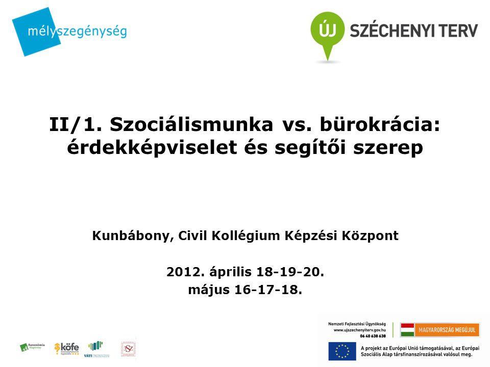 II/1. Szociálismunka vs. bürokrácia: érdekképviselet és segítői szerep Kunbábony, Civil Kollégium Képzési Központ 2012. április 18-19-20. május 16-17-