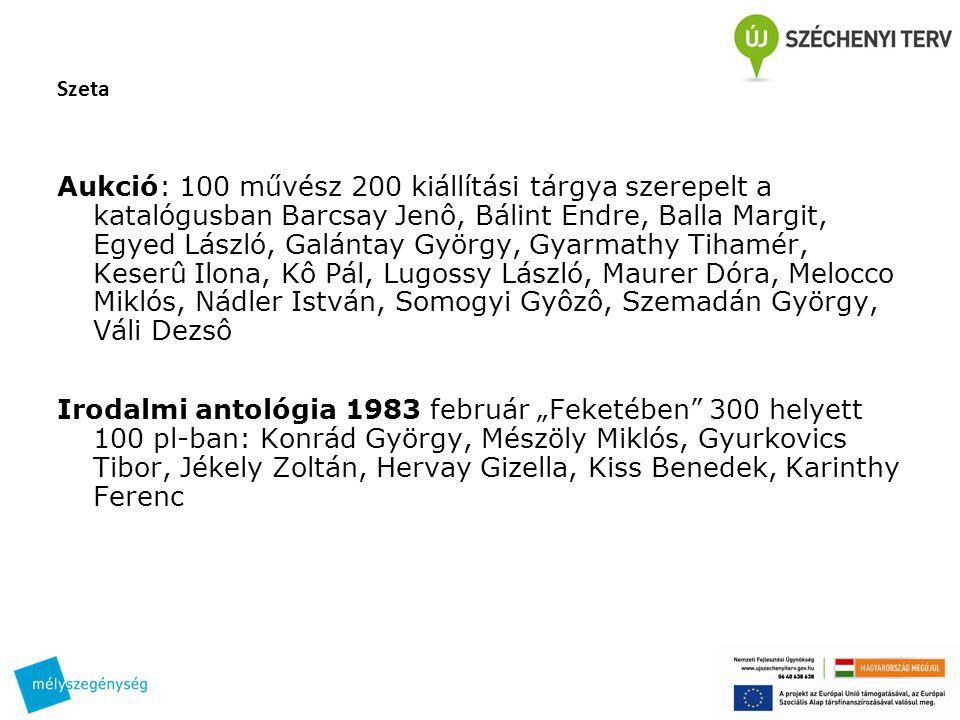 Szeta Aukció: 100 művész 200 kiállítási tárgya szerepelt a katalógusban Barcsay Jenô, Bálint Endre, Balla Margit, Egyed László, Galántay György, Gyarm