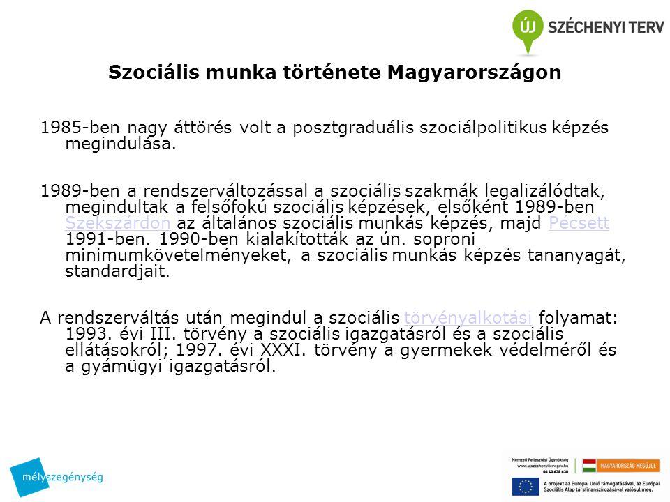 Szociális munka története Magyarországon 1985-ben nagy áttörés volt a posztgraduális szociálpolitikus képzés megindulása. 1989-ben a rendszerváltozáss