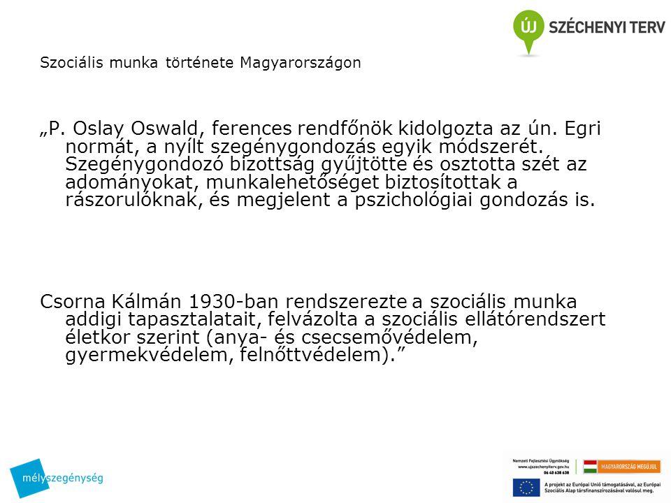 """Szociális munka története Magyarországon """"P. Oslay Oswald, ferences rendfőnök kidolgozta az ún. Egri normát, a nyílt szegénygondozás egyik módszerét."""