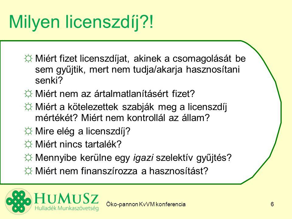 Öko-pannon KvVM konferencia6 Milyen licenszdíj .