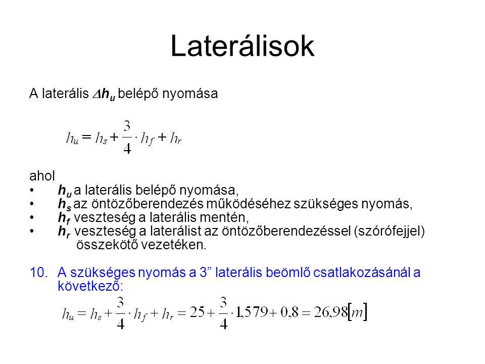 Laterálisok A laterális  h u belépő nyomása ahol •h u a laterális belépő nyomása, •h s az öntözőberendezés működéséhez szükséges nyomás, •h f vesztes