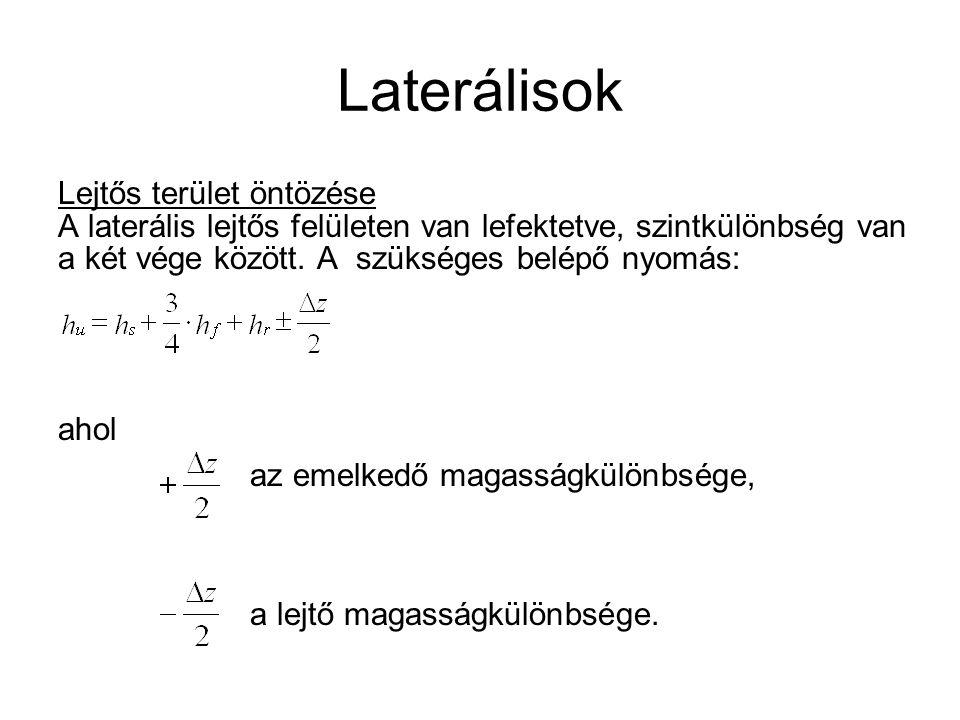 Laterálisok Lejtős terület öntözése A laterális lejtős felületen van lefektetve, szintkülönbség van a két vége között. A szükséges belépő nyomás: ahol