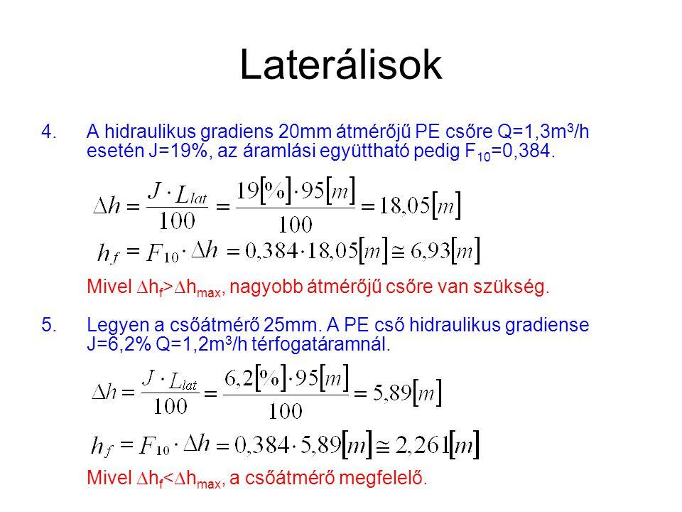 Laterálisok 4.A hidraulikus gradiens 20mm átmérőjű PE csőre Q=1,3m 3 /h esetén J=19%, az áramlási együttható pedig F 10 =0,384. Mivel  h f >  h max,
