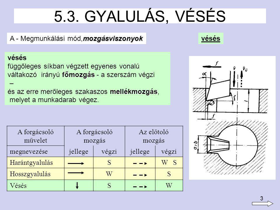4 A szerszám határozott élgeometriájú, egyélű forgácsolókés, általában esztergakés.