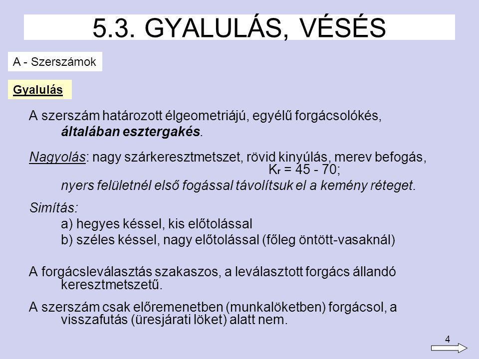 5 5.3. GYALULÁS, VÉSÉS