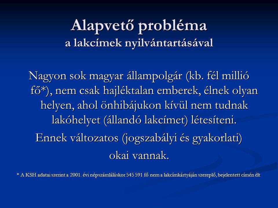Alapvető probléma a lakcímek nyilvántartásával Nagyon sok magyar állampolgár (kb. fél millió fő*), nem csak hajléktalan emberek, élnek olyan helyen, a