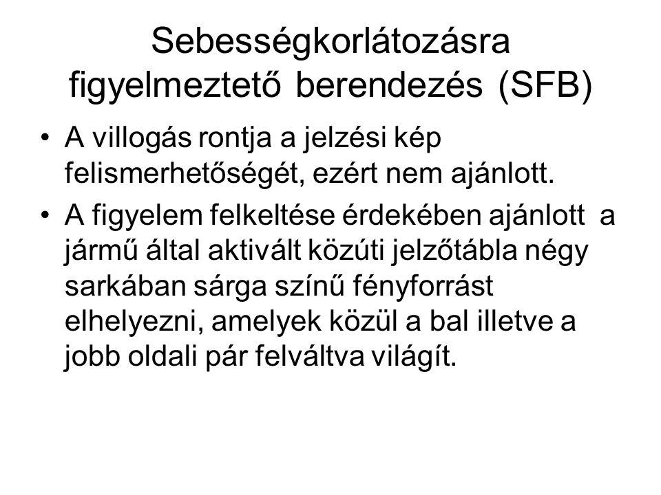 Sebességkorlátozásra figyelmeztető berendezés (SFB) •A villogás rontja a jelzési kép felismerhetőségét, ezért nem ajánlott.