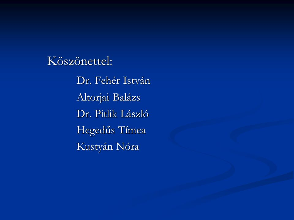 Köszönettel: Dr. Fehér István Altorjai Balázs Dr. Pitlik László Hegedűs Tímea Kustyán Nóra