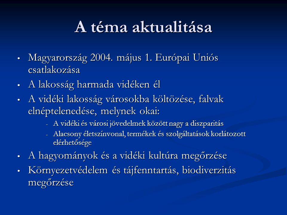 A téma aktualitása • Magyarország 2004. május 1. Európai Uniós csatlakozása • A lakosság harmada vidéken él • A vidéki lakosság városokba költözése, f