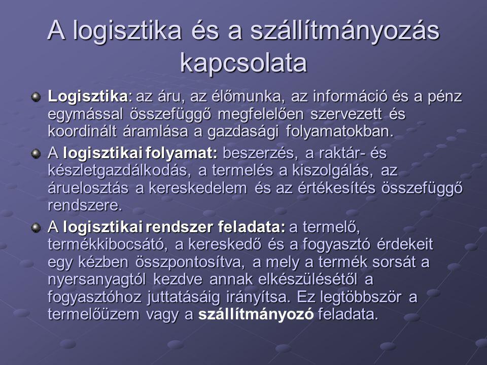 A logisztika és a szállítmányozás kapcsolata Logisztika: az áru, az élőmunka, az információ és a pénz egymással összefüggő megfelelően szervezett és koordinált áramlása a gazdasági folyamatokban.