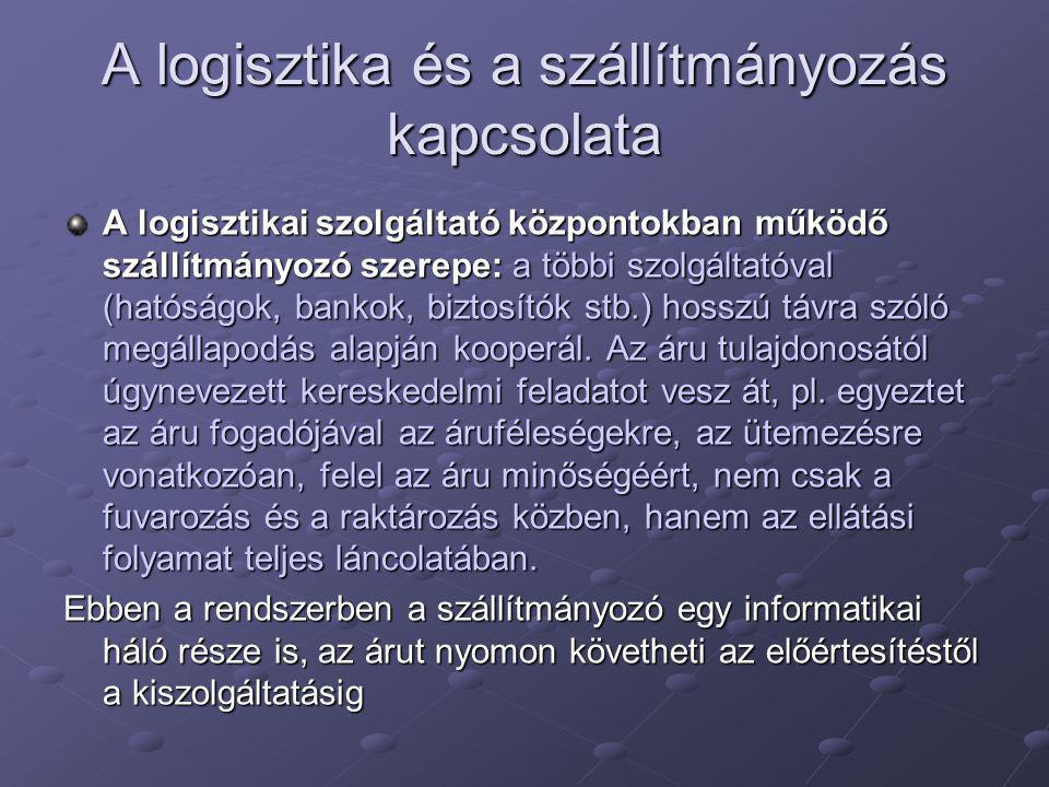 A logisztika és a szállítmányozás kapcsolata A logisztikai szolgáltató központokban működő szállítmányozó szerepe: a többi szolgáltatóval (hatóságok, bankok, biztosítók stb.) hosszú távra szóló megállapodás alapján kooperál.
