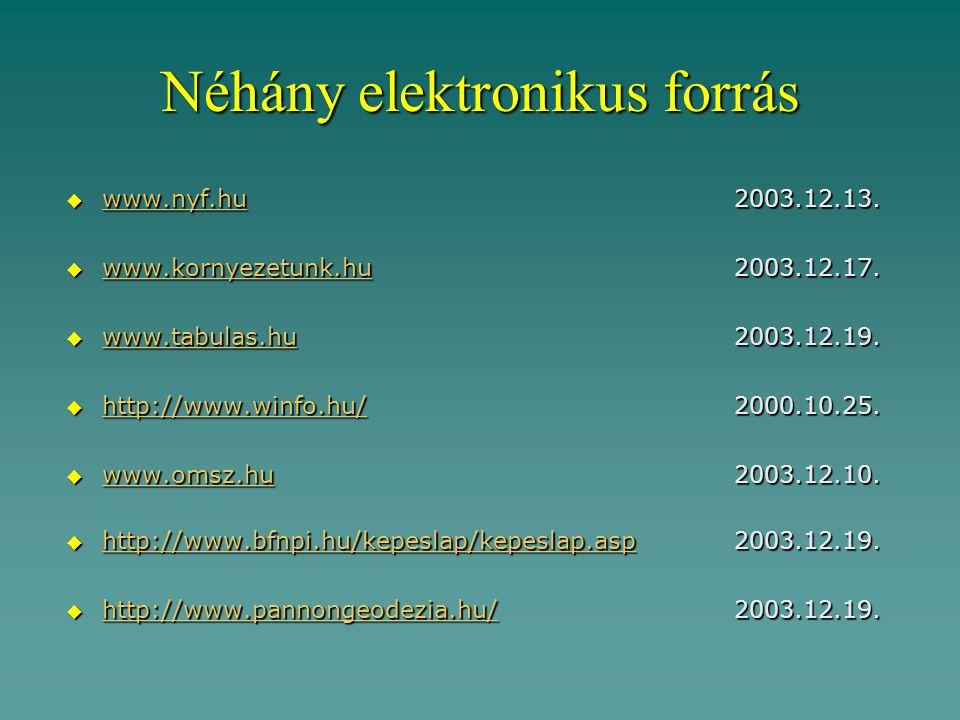 Néhány elektronikus forrás  www.nyf.hu2003.12.13.