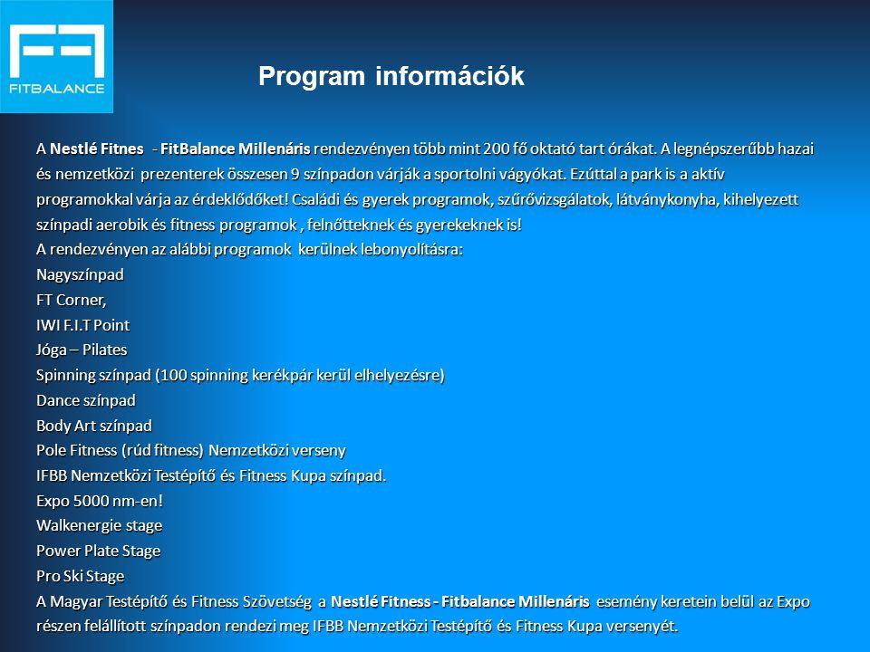 Program információk A Nestlé Fitnes - FitBalance Millenáris rendezvényen több mint 200 fő oktató tart órákat.