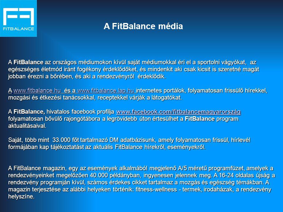 A FitBalance média A FitBalance az országos médiumokon kívül saját médiumokkal éri el a sportolni vágyókat, az egészséges életmód iránt fogékony érdeklődőket, és mindenkit aki csak kicsit is szeretné magát jobban érezni a bőrében, és aki a rendezvényről érdeklődik.