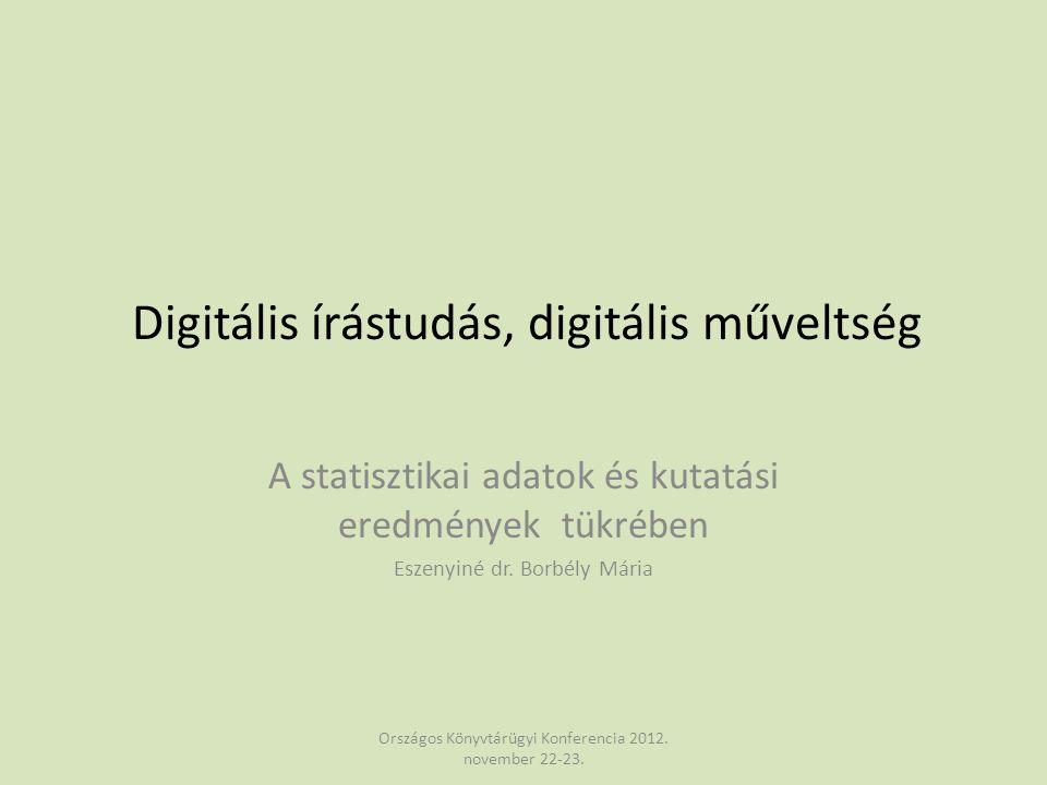 Digitális írástudás, digitális műveltség A statisztikai adatok és kutatási eredmények tükrében Eszenyiné dr. Borbély Mária Országos Könyvtárügyi Konfe