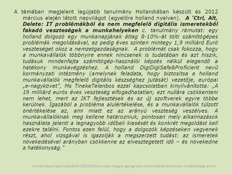 A témában megjelent legújabb tanulmány Hollandiában készült és 2012 március elején látott napvilágot (egyelőre holland nyelven).