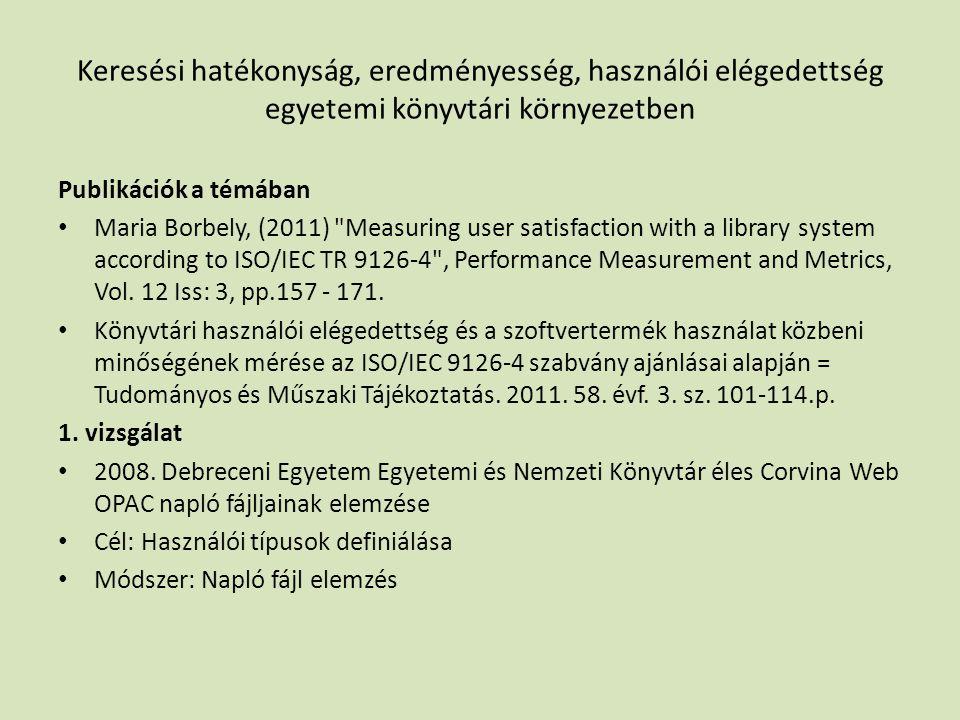 Keresési hatékonyság, eredményesség, használói elégedettség egyetemi könyvtári környezetben Publikációk a témában • Maria Borbely, (2011) Measuring user satisfaction with a library system according to ISO/IEC TR 9126-4 , Performance Measurement and Metrics, Vol.
