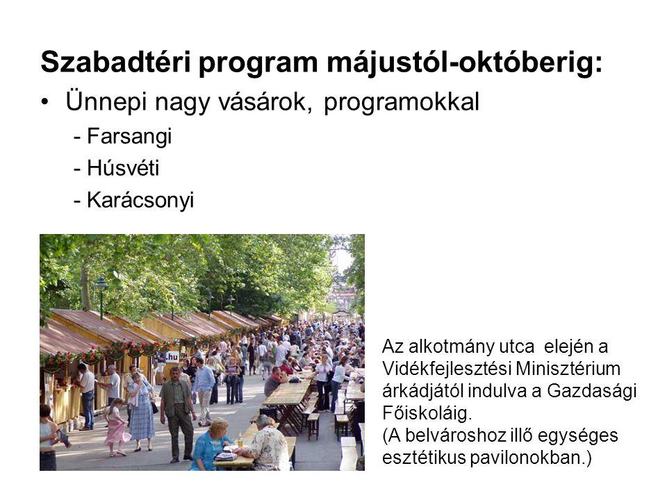Szabadtéri program májustól-októberig: •Ünnepi nagy vásárok, programokkal - Farsangi - Húsvéti - Karácsonyi Az alkotmány utca elején a Vidékfejlesztés