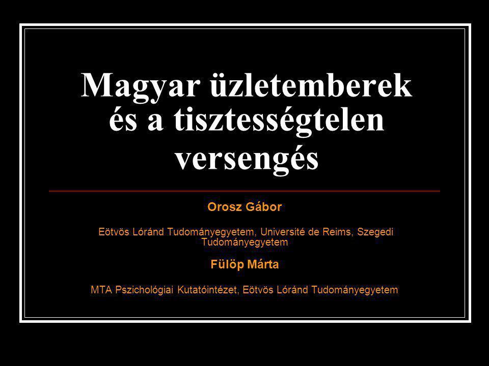 Magyar üzletemberek és a tisztességtelen versengés Orosz Gábor Eötvös Lóránd Tudományegyetem, Université de Reims, Szegedi Tudományegyetem Fülöp Márta