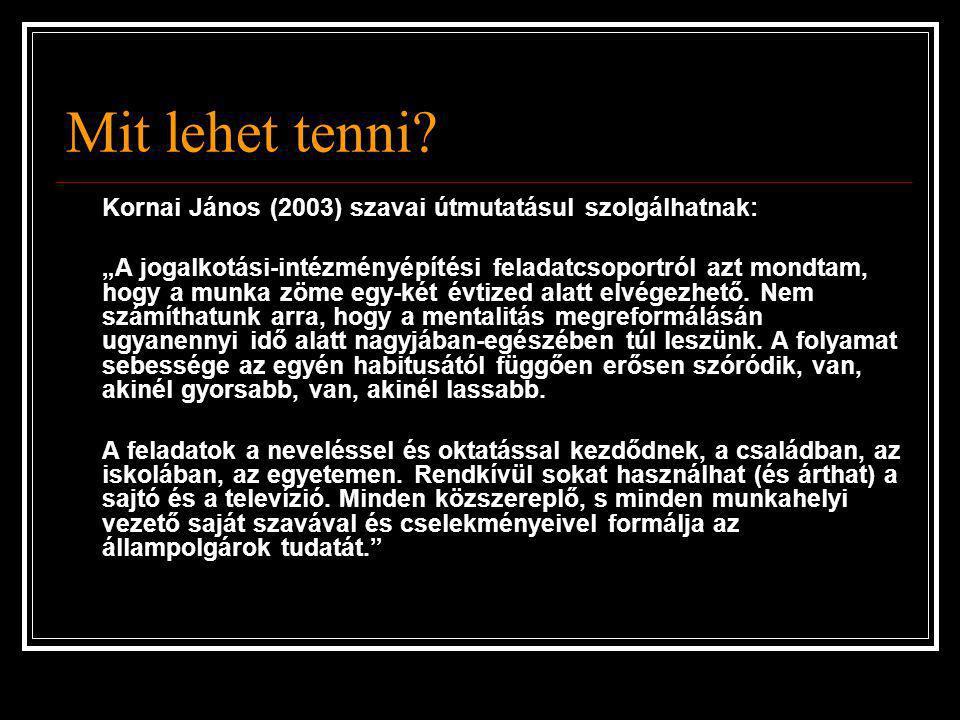 """Mit lehet tenni? Kornai János (2003) szavai útmutatásul szolgálhatnak: """"A jogalkotási-intézményépítési feladatcsoportról azt mondtam, hogy a munka zöm"""
