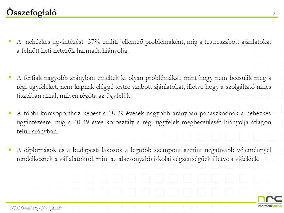 NRC Omnibusz - 2011 január 2  A nehézkes ügyintézést 37% említi jellemző problémaként, míg a testreszabott ajánlatokat a felnőtt heti netezők harmada hiányolja.
